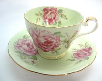 Aynsley tea cup and saucer , Blue teacup and saucer, Blue tea cup set with Pink Roses,