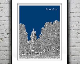 Franklin Indiana Poster Art Skyline Print IN