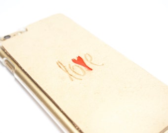 """Leather iPhone 6s Plus Case / iPhone 6 Plus Case - """"Love"""" with Heart"""