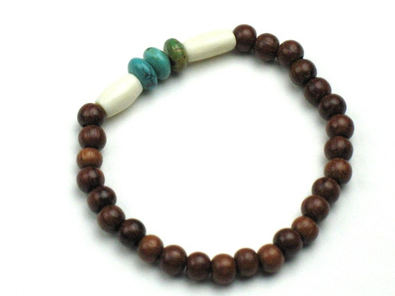 Ebony Wood Stretch Bracelet with Bone and Genuine Turquoise Beads