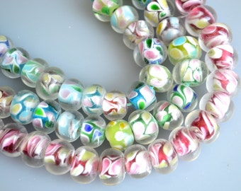Lamp-work Glass Beads Roundel Shape Size Approx. 8-9x12-13mm
