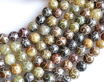 Carved Serpentine Jade Beads Gemstone Muti Color Round Shape Size Approx. 10-12mm 16 inch