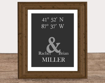latitude longitude couples print gift for anniversary bridal shower gift first home buyer