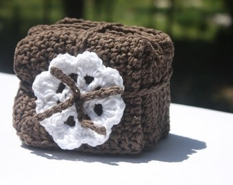 Chocolate Brown Crocheted Baby Washcloths -  Brown Cotton Washcloths