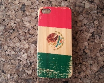Mexican Flag iPhone 6 or 6S Case. Eco-Friendly Bamboo Wood Phone Cover Skin. Mexico Flag El Tri Color Grunge Pride. UV Printed. iMakeTheCase