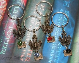 Hogwarts Acceptance Letter  - Harry Potter Inspired Keychain - Gryffindor Red, Slytherin Green, Ravenclaw Blue or Hufflepuff Black -6180017