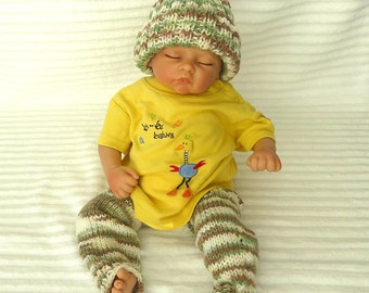 Baby Hat and Legwarmer Set  / leggings & Beanie, Ready to Ship 18-24 Months, Ankle-thigh Leg Warmers