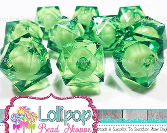 GREEN Ice CUBE Beads 20mm Beads Chunky Beads Faceted Beads Plastic Square Beads Acrylic Beads Lucite 10ct Bubblegum Beads Bubble Gum Beads