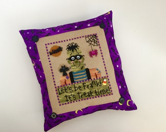 Frankenstein Halloween Treat Time decorative cross stitch pillow, purple, finished, completed