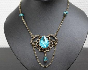 Sparkle Vintage Necklace-Aqua