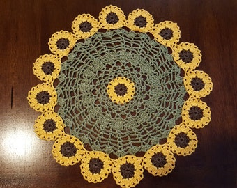 Brown-Eyed Susan Hand Crocheted Doily