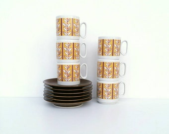 Retro Espresso cup and saucer set, vintage espresso cups, small coffee cups, vintage patterned cups, Italian cups