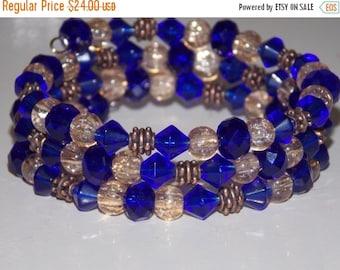 25%OFF Cobalt Blue and Copper Wrap Bracelet
