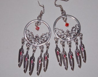 Red Feather Red Crystal Open Hoop Chandelier Earrings