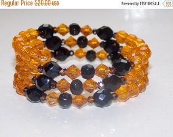 Amber and Black Czech Wrap Bracelet