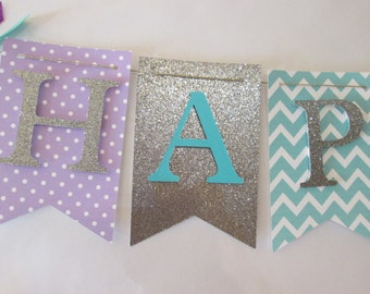 Purple, teal  and glitter silver Happy birthday banner, first birthday decorations