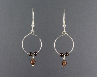 Beaded Hoop Dangle Sterling Silver with Brown Pearls Earrings