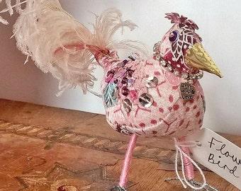 Flower Bird - Textile Sculpture