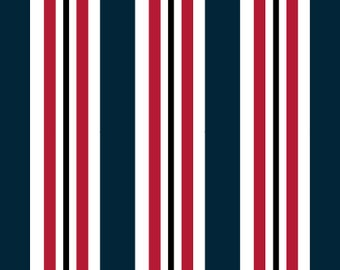 Go Team! Navy and Red Stripes Pet Collar (Martingale, Buckle, or Tag)