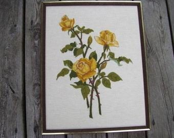 Vintage Yellow Rose Needlepoint Framed,Garden Roses