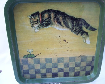 Pouncing Cat with Windup Mouse Square Tray Checkerboard