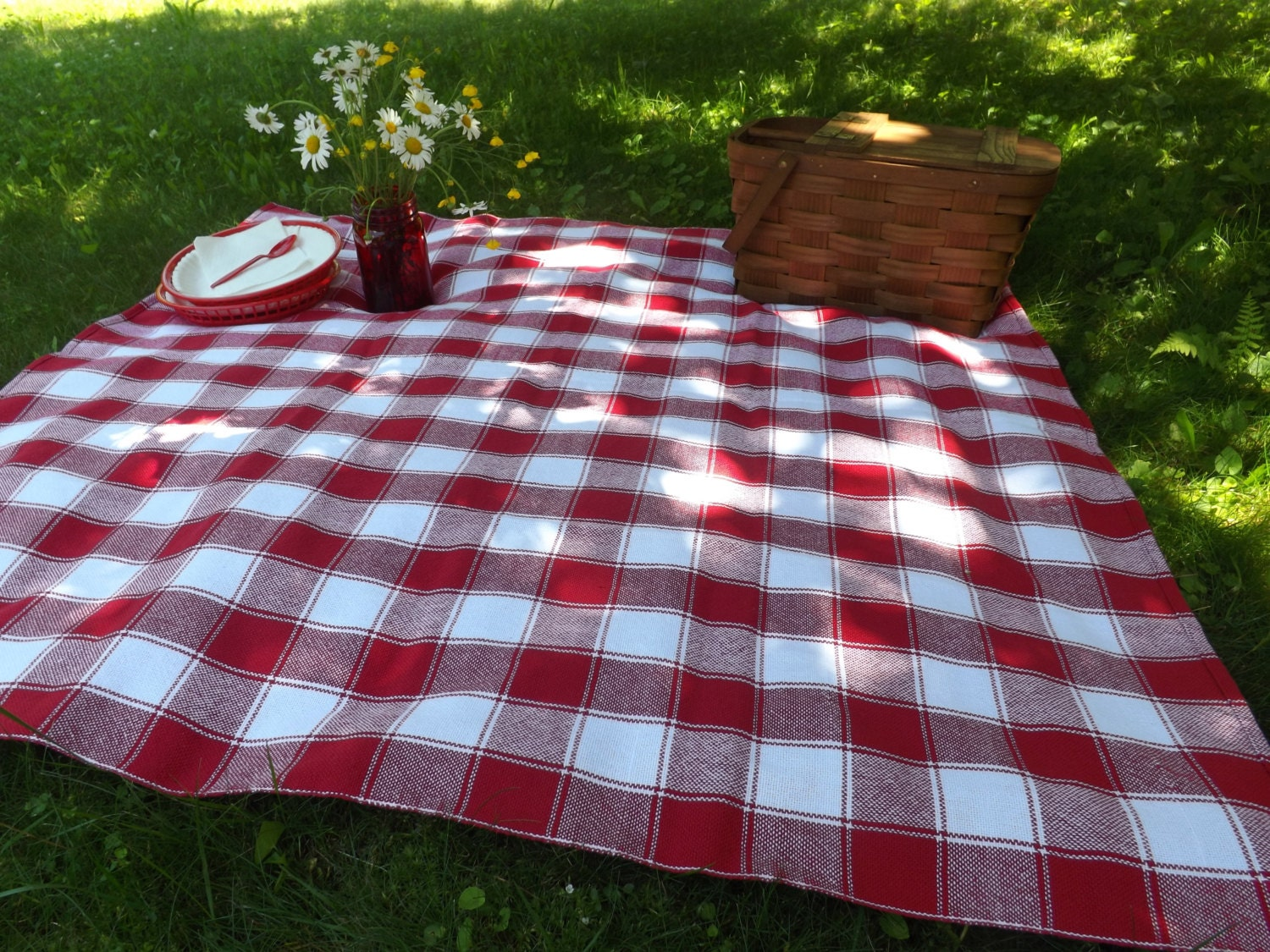 Handwoven Picnic Tablecloth Dining Table Cloth Red Amp White