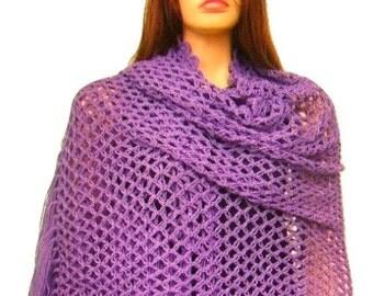 ON SALE Purple Net Crochet Shawl with Long Fringe, Ready to Ship, Women accessory, Express Cargo