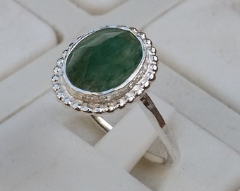 Aventurine Silver Ring ,Sterling Silver 925 Ring, Gemstones Ring, Engagement Ring, Handmade Aventurine Ring, Friendship Ring,Valentine's Day