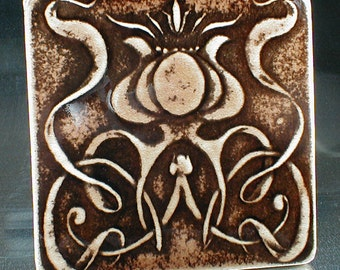 Art nouveau tile, flower tile, handmade tile, art tile, ceramic tile, wall tile, accent tile, backsplash tile, kitchen tile
