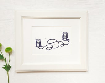 Call Me Print | 5x7 Linocut Art Print | Limited Edition Original Artwork | Block Print