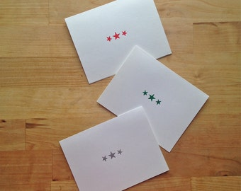 Letterpress holiday cards, 6 pack – Star trios