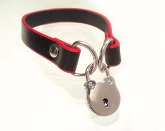 Black Leather w/Red Edges BDSM Lockable slave sub Collar with padlock /locking sub fetish choker