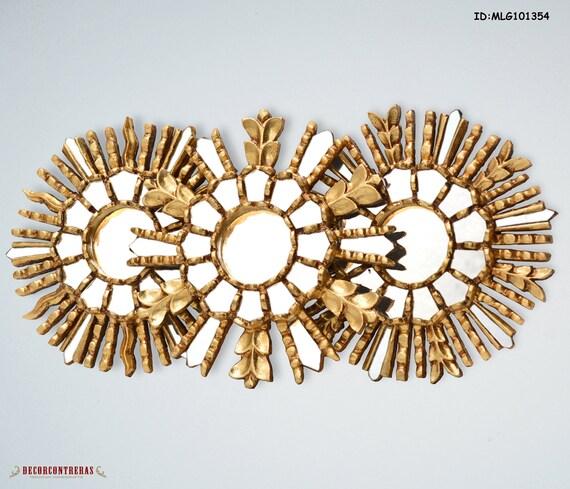 Set 3 Decorative Small Wall Mirrors 9 8 Wall Decor Peru Mirror With Gold Leaf Ebay