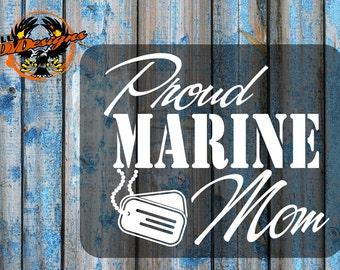 Patriotic-Proud Marine Mom Decal