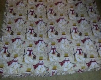 Snowman Fleece Blanket-Handmade