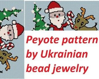 Even count original pattern beading supplies Peyote Pattern for bracelet PDF Pattern graphic design chart Christmas gift christmas pattern