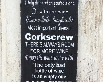 Wine Rules - House warming Gift - wine cellar room sign - wine lover sign, Wedding Gift