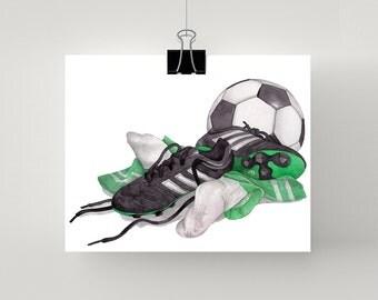Soccer print in green