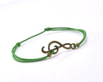 Bracelet music bronze green cord