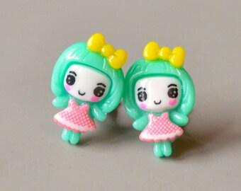 Earrings green girl dress on clip