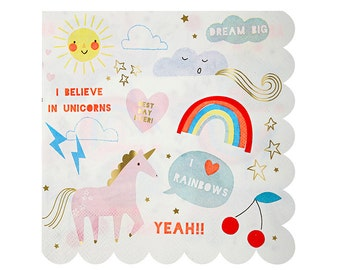 "Rainbow + Unicorn Napkins (Set of 16) - Meri Meri LARGE 6.5"" Party Napkins"
