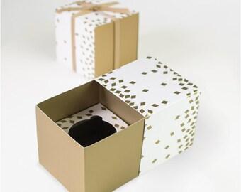 SALE - Geo Gold Confetti Cupcake Boxes (Set of 6) - Geometric