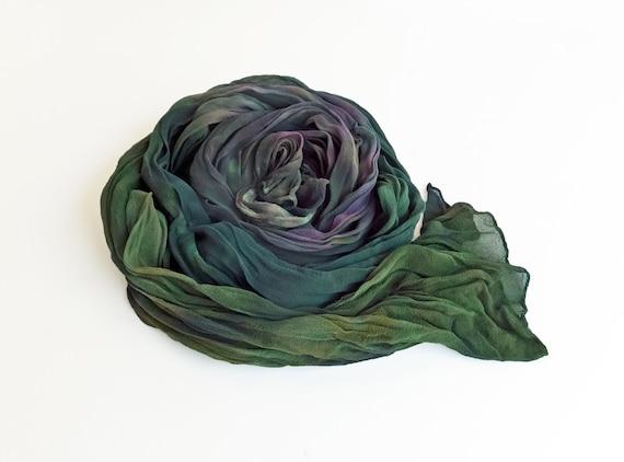 "Green chiffon scarf - silk chiffon scarf - crinkle scarf - large scarf - green, teal, purple, hand dyed - 17"" x 74"""