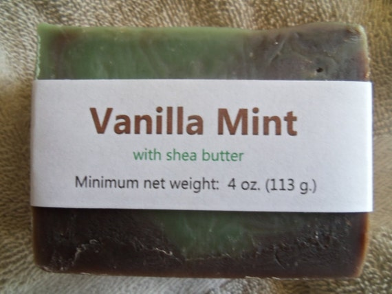 Vanilla Mint Scented Cold Process Soap with Shea Butter