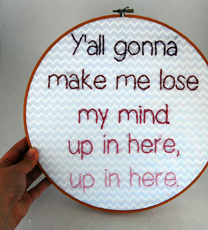 Not3s Trekked Like Me Lyrics: DMX Hoop Art Up In Here Lyrics Sassy Embroidery By