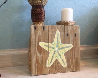 READY TO SHIP Starfish on pallet wood coastal decor