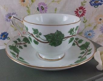 SALE Crown Staffordshire Ivy Cup and Saucer Bone China Mint