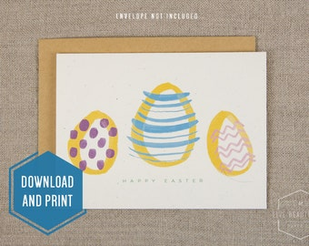 Printable Easter Egg Card, Holiday Card, Spring Card