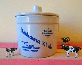 Vintage Cheese Crock, Butter Crock, Kaukauna Klub Dairy Collectible, Country Kitchen Jar, Cookie Jar, Vintage Kitchen, Stoneware Crock