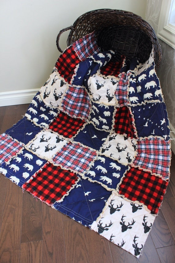 Plaid Baby Quilt: Baby Rag Quilt Baby Crib Quilt Plaid Quilt Deer Navy By
